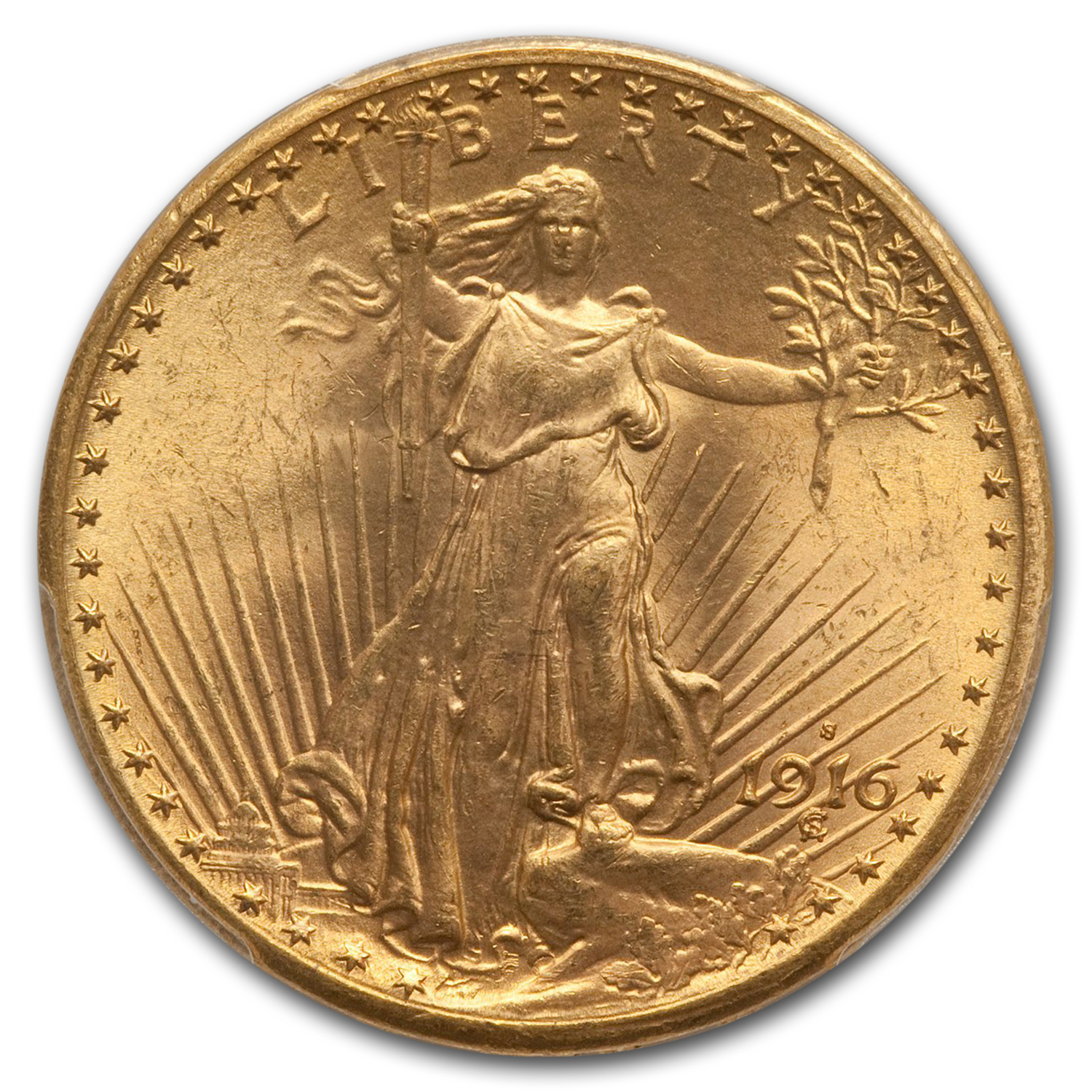 1916-S $20 St. Gaudens Gold Double Eagle - MS-66 PCGS